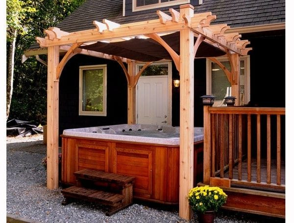 Pergola Spa Shelter with Retractable Canopy   8×8